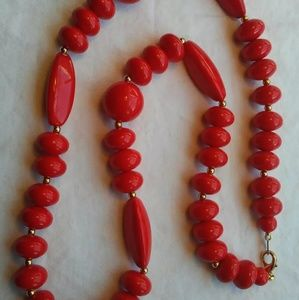 """11 1/2""""  Hanging Red and Gold Toned Beaded Necklac"""